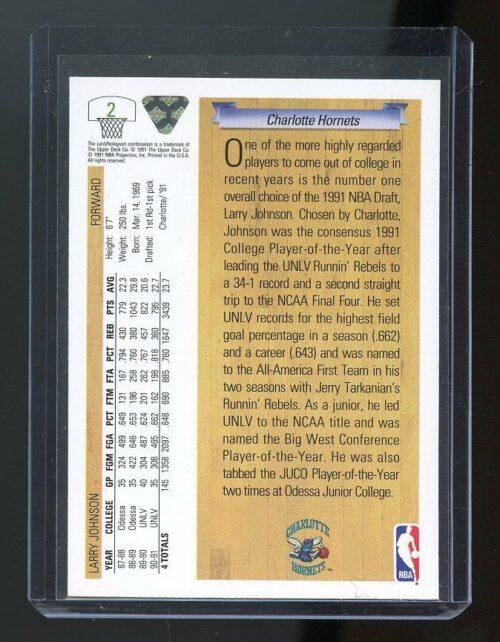 1991-92 Upper Deck Draft #2 Larry Johnson Charlotte Hornets02